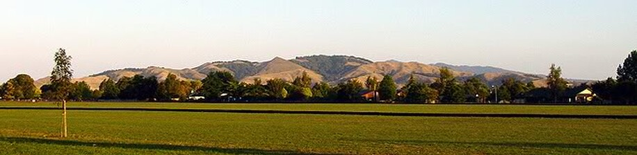 Mt Maungatautari lies to the south-west of the town, behind the Roto-o-Rangi Hills, which are seen here on a summer's evening.