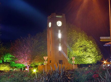 The Cambridge Town Clock, Jubilee Gardens, during the week long Autumn Festival of Lights